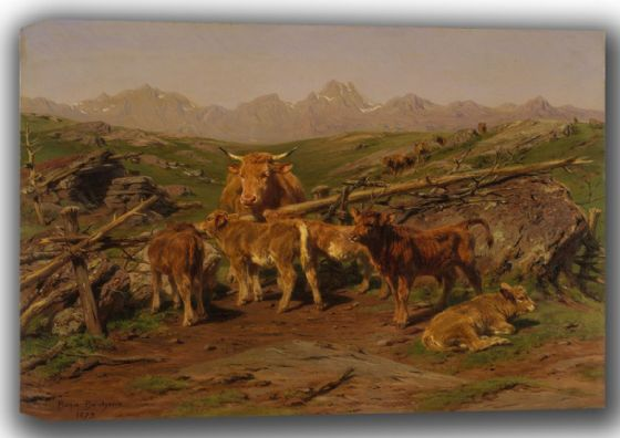 Bonheur, Rosa: Weaning the Calves. Fine Art Canvas. Sizes: A4/A3/A2/A1 (001608)